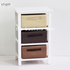 Wood cabinet with four PP strap baskets