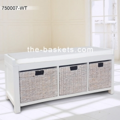 Long bench with cushion and three storage baskets